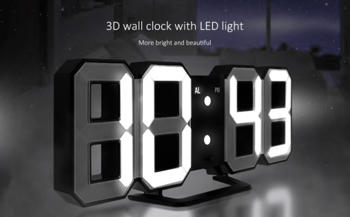 Gearbest Gocomma TS - S60 3D LED Digital Alarm Clock with Snooze Function - WHITE