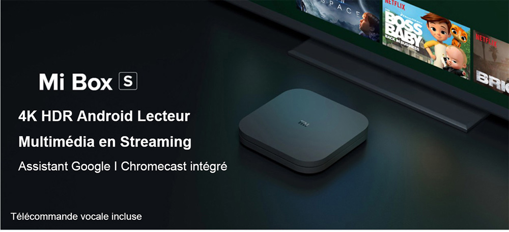 Xiaomi Mi Box S avec 4K HDR Android Lecteur Multimédia en Streaming TV et Assistant Google à Distance Version Internationale Officielle- Black EU Plug
