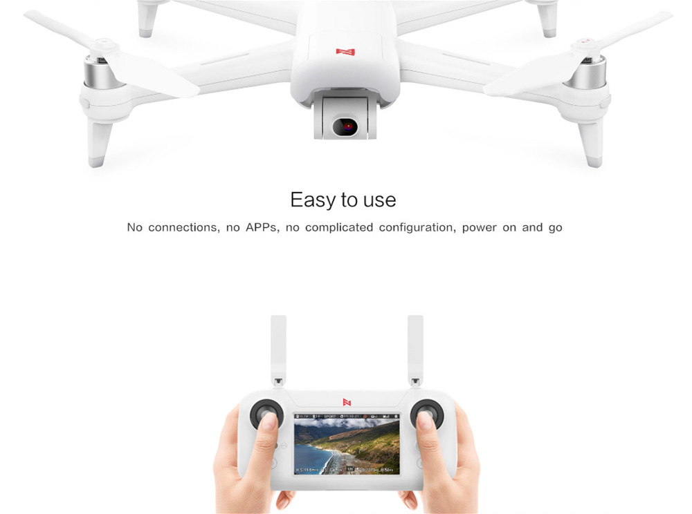 FIMI A3 5.8G 1KM FPV with 2-axis Gimbal 1080P Camera GPS RC Drone Quadcopter RTF - 5.8G FPV for Xiaomi Youpin- White