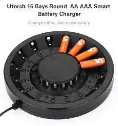 utorch fy 1601 16 bays smart aa aaa battery fast charger with built  [ 1000 x 1171 Pixel ]