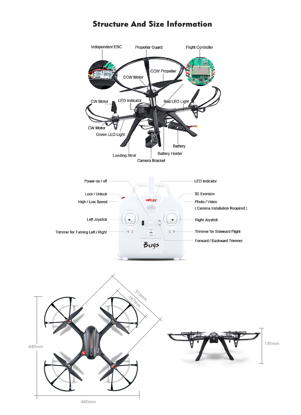 medium resolution of mjx b3 bugs 3 rc quadcopter rtf two way 2 4ghz 4ch with action camera