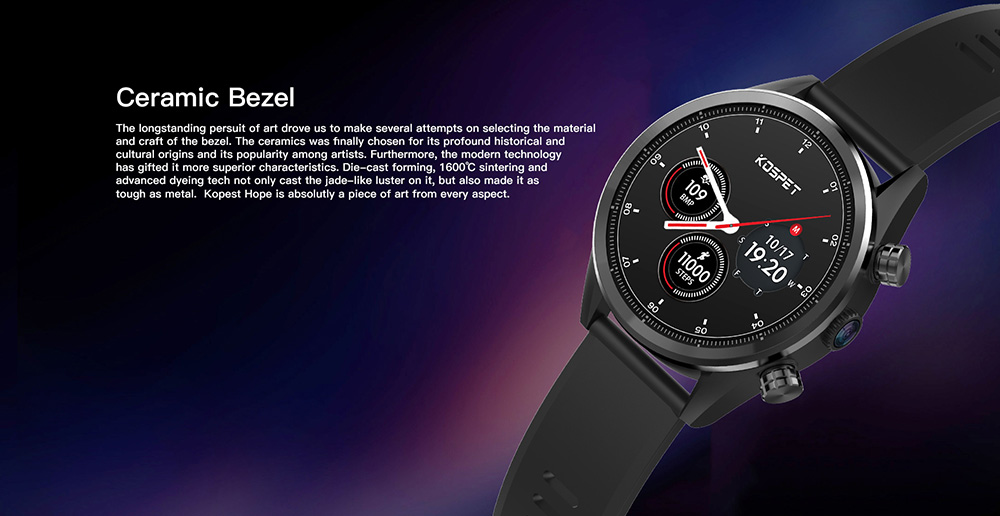 Kospet Hope 4G Smartwatch Phone 1.39 inch Android 7.1 MTK6739 Quad Core 1.3GHz 3GB RAM 32GB ROM 8.0MP Camera 620mAh Built-in - Black