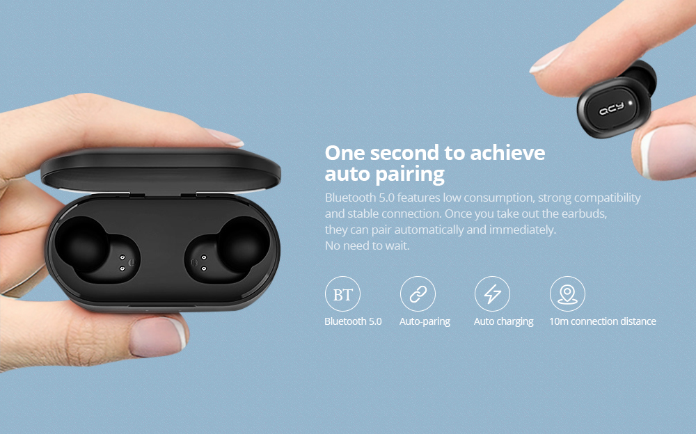 QCY T2C / T1S TWS Bluetooth Earphones Binaural Wireless Stereo Earbuds with Mic and Charging Dock- Black