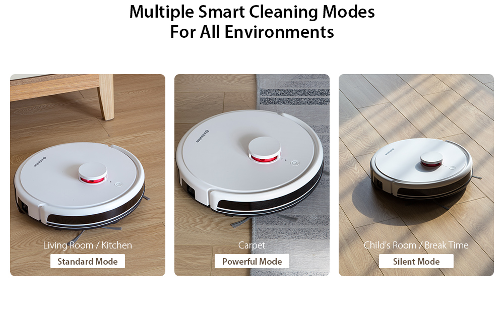 Alfawise V9S BL517 Robot Vacuum Cleaner with Laser Navigation with Smart Mop- White