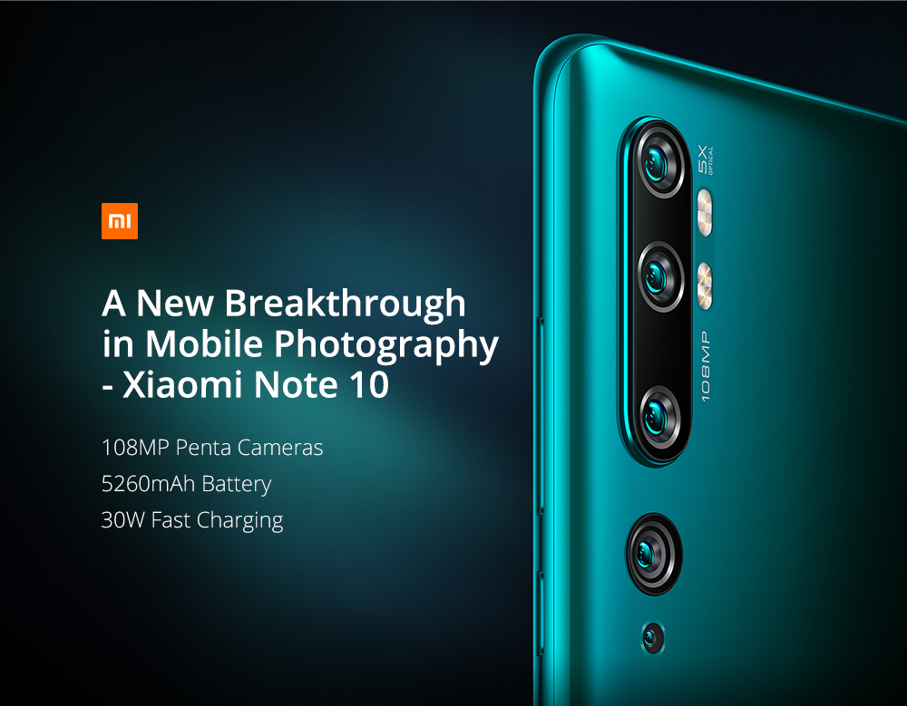 Gearbest Xiaomi Mi Note 10 (CC9 Pro) 108MP Penta Camera Phone