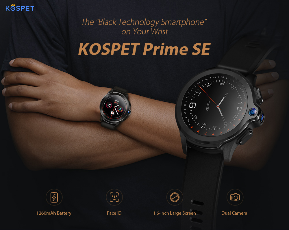 KOSPET Prime SE 4G Smart Watch Phone 1.6 inch Screen Dual Lens 1260mAh Battery 1G + 16G Wristwatch- Black