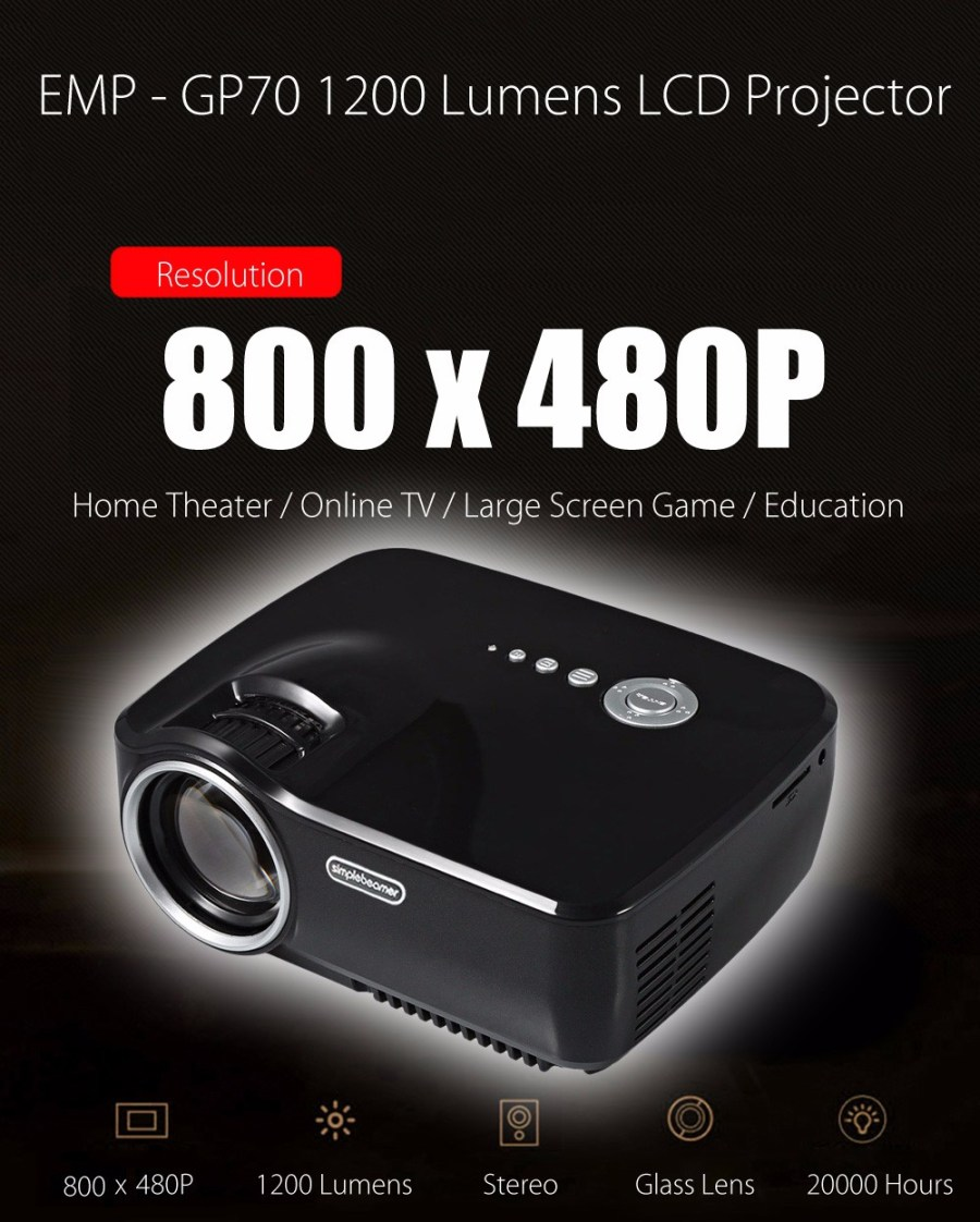 EMP - GP70 Portable 800 x 480 Pixels 1200 Lumens Full HD LCD Projector Video Home Cinema