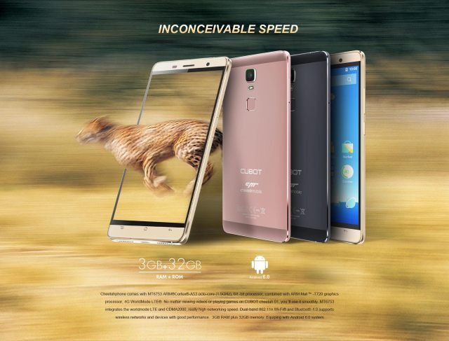 CUBOT Cheetahphone Android 6.0 4G Phablet 5.5 inch 2.5D Arc Screen MTK6753 64bit Octa Core 1.5GHz 3GB RAM 32GB ROM Touch ID 13.0MP Rear Camera 5G WiFi HotKnot
