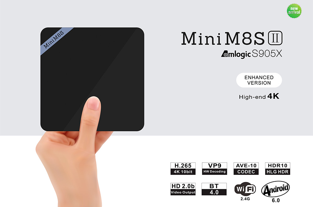 Mini M8S II Smart TV Box Amlogic S905X Quad Core Android 6.0 64bit 4K VP9 Décodage Soutien BT 4.0 2.4GHz WiFi