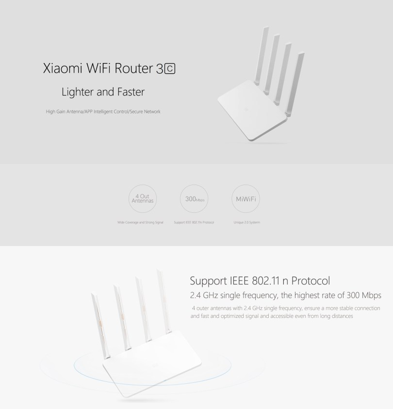WiFi d'origine Xiaomi Mi 300Mbps 2.4GHz Router 3C Signal Booster avec 4 antenne Version chinoise