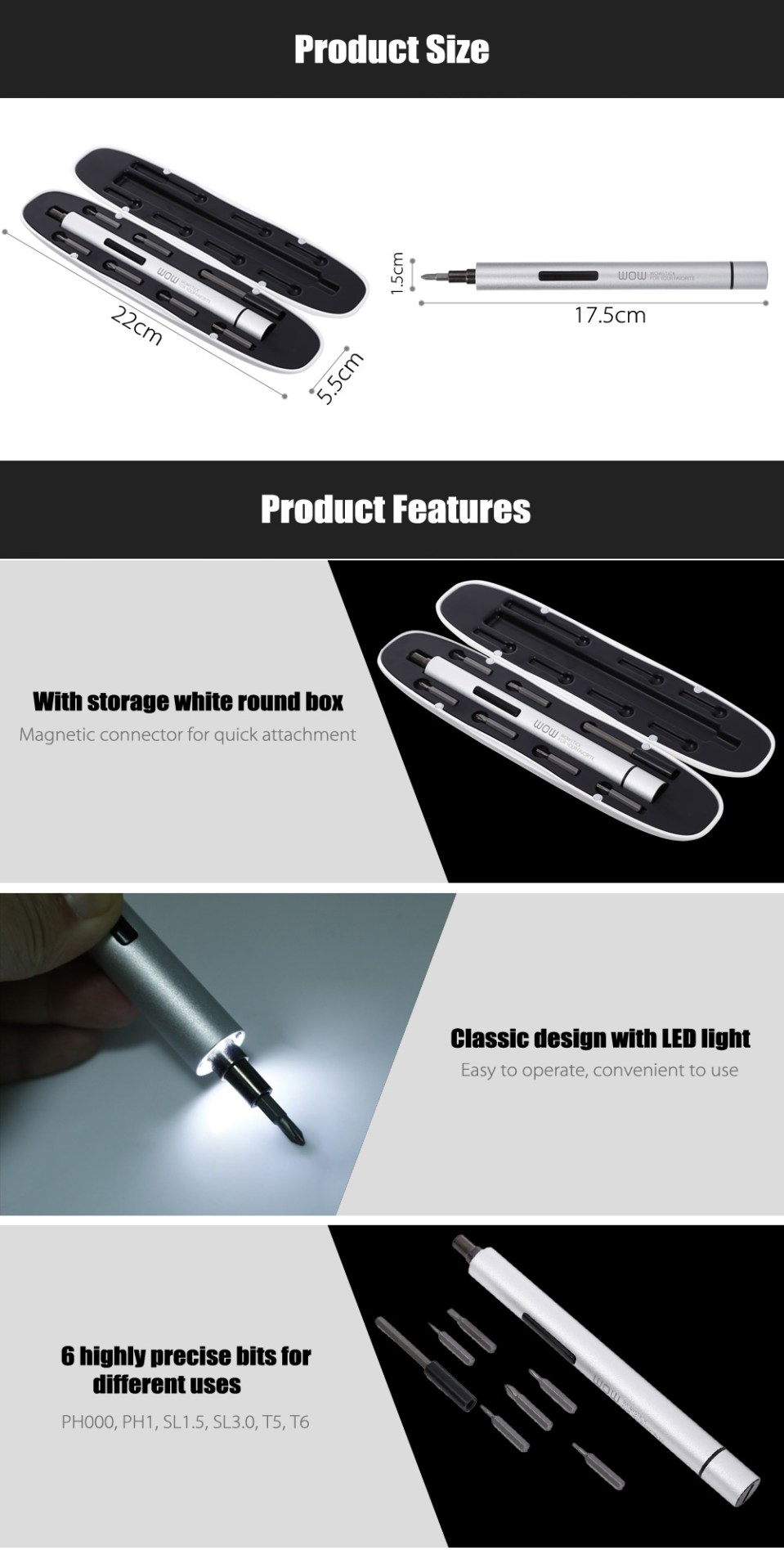 Xiaomi WOWSTICK 1fs Electric Screwdriver Set Power Tool with LED Light