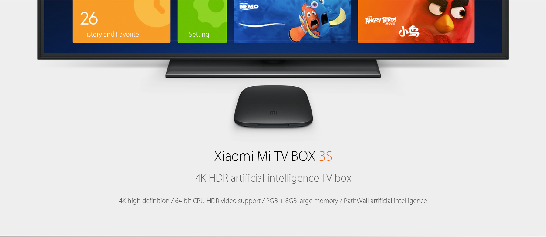 Origine Xiaomi Mi 3S TV Box 4K 64bit Android 6.0 Media Player Quad Core Amlogic S905X Dolby DTS HDMI