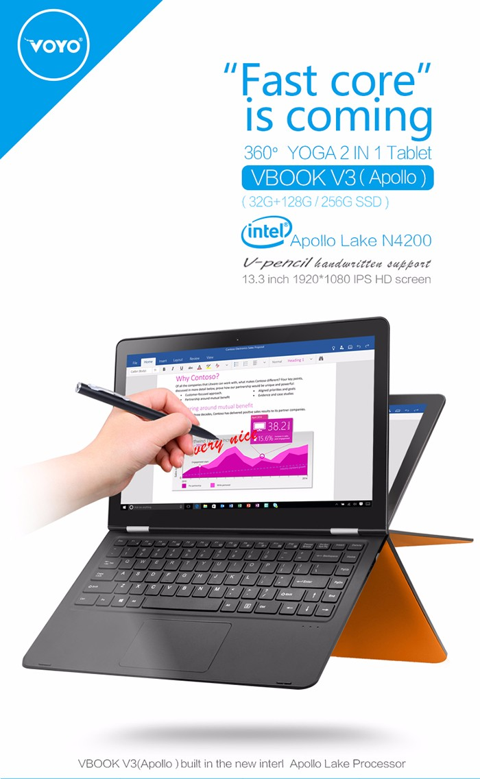 VOYO VBOOK V3 Notebook 13.3 inch Windows 10 Intel APOLLO LAKE Pentium N4200 Quad Core 1.1GHz 4GB RAM 32GB eMMC + 128GB SSD Bluetooth