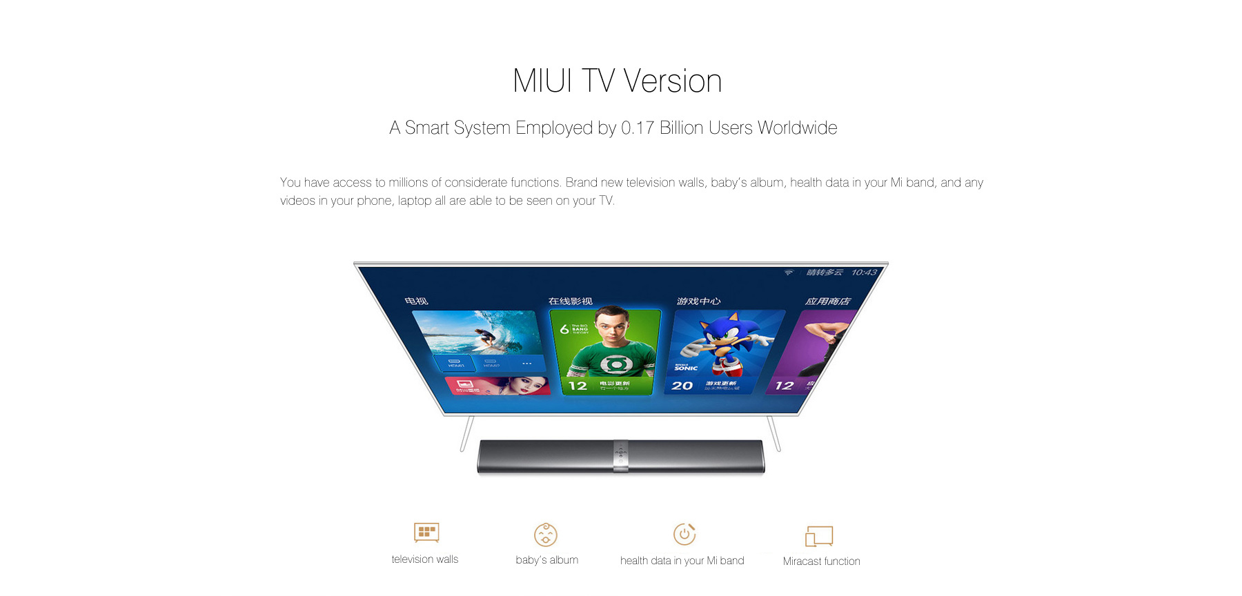 Original Xiaomi Mi TV Bar Soundbar Built-in Stereo Mstar 6A928 Cortex-A17 Quad Core CPU 2GB DDR3 + 8GB eMMC