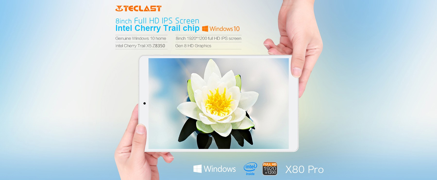 Teclast X80 Pro Tablet PC 8 inch IPS Screen Windows 10 + Android 5.1 Intel Cherry X5 Trail Z8350 Quad Core 1.44GHz 2GB RAM 32GB ROM WiFi Bluetooth 4.0 HDMI