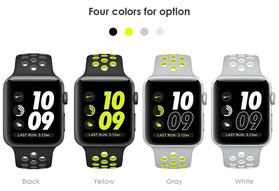 Soft Watch Band Air Holes Replacement Wristband for Apple Watch 38mm
