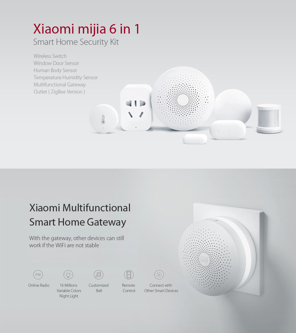 Xiaomi mijia 6 en 1 Smart Home Set de sécurité