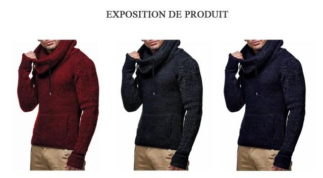 Manteau Pull de Noël Epais à Col Roulé Pour Homme