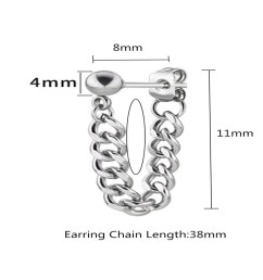 2 pcs personality punk wind small ball stainless steel chain ear nails [ 1000 x 1000 Pixel ]