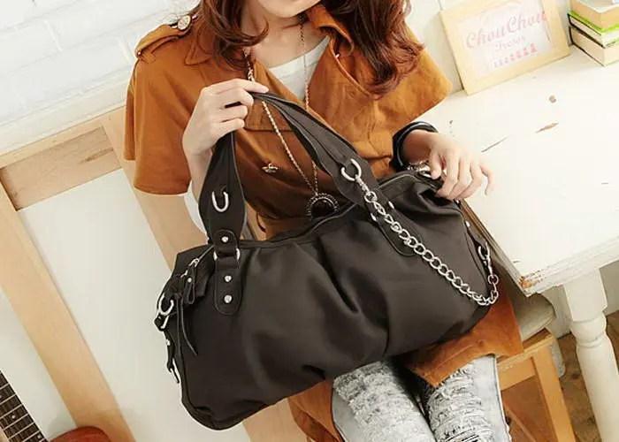 Fashion Style Tote and Chain Design Women's Street Level Handbag