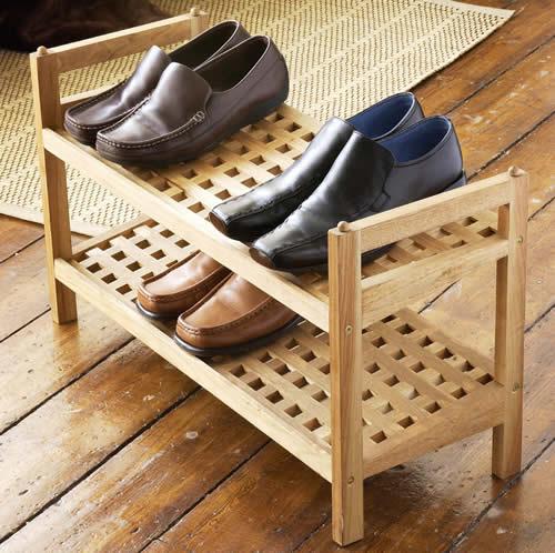 STORE  Walnut Wooden Shoe Rack  Stacking