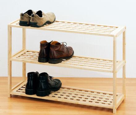STORE  3 Tier Wooden Shoe Shelf