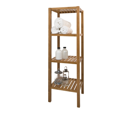 STORE  Walnut Bathroom Shelf Unit  4 Tier
