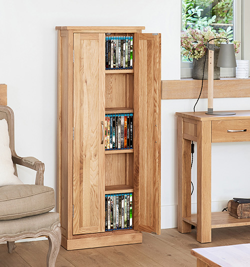 STORE  Solid Oak DVD  CD Storage Cupboard  Mobel