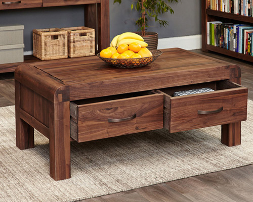 Solid Walnut Coffee Table With Storage