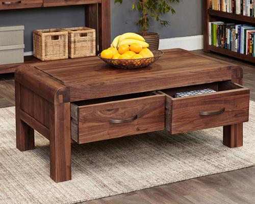 Solid Walnut Coffee Table With Storage - Shiro