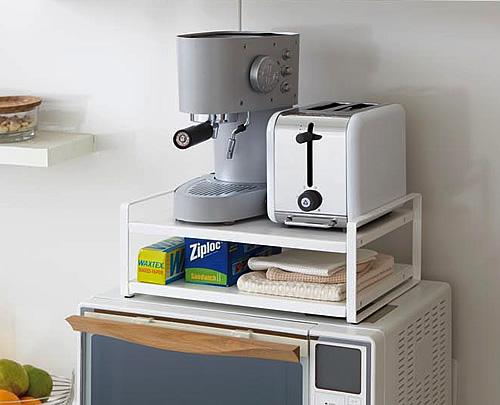 Microwave Top Shelving Unit In White  Yamazaki