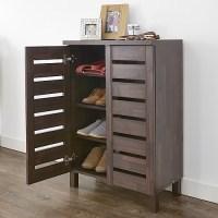 STORE | Slatted Shoe Storage Cabinet - Mahogany Effect
