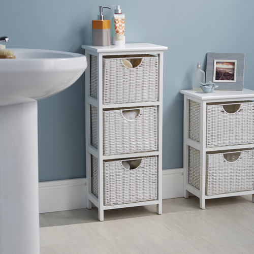 STORE  White Wood  Wicker Style Bathroom Drawer Unit  3