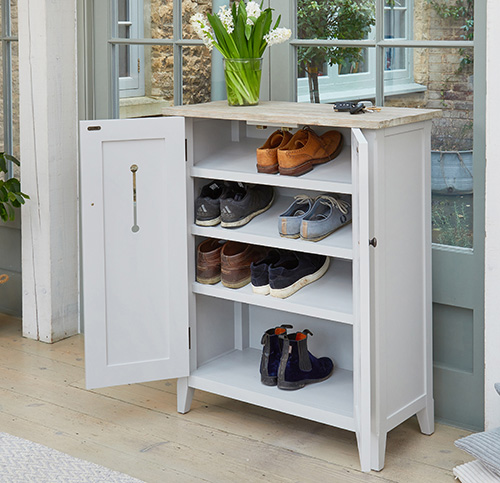 STORE Grey Wood Shoe Storage Cabinet Signature