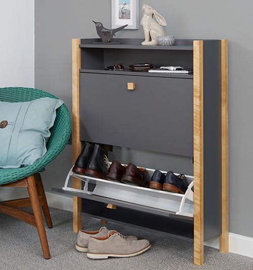 Grey Shoe Storage Cabinet  2 Drawer  Hannover