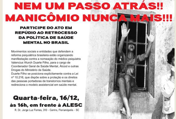 Entidades na luta antimanicomial de Florianópolis realizam manifestação contra indicação polêmica no Ministério da Saúde