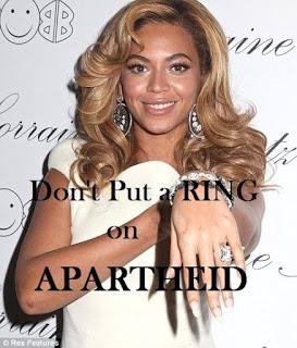 Foto da comunidade Don't Put a Ring on Apartheid, que pede para que Beyoncé integre o BDS