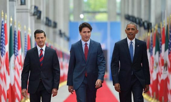 Peña Nieto, Trudeau e Obama. Foto: Reuters.