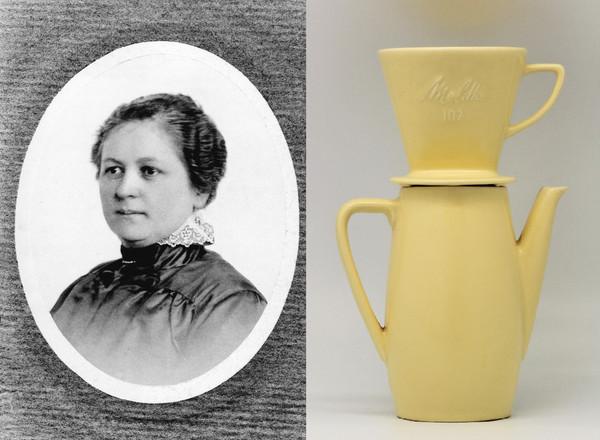 À esquerda, foto de Melitta Bentz; à direita, mostra da máquina de café que desenhou. / Wikipedia