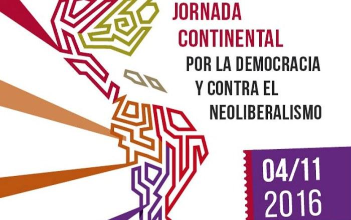 4 de novembro: Jornada Continental pela Democracia e contra o Neoliberalismo