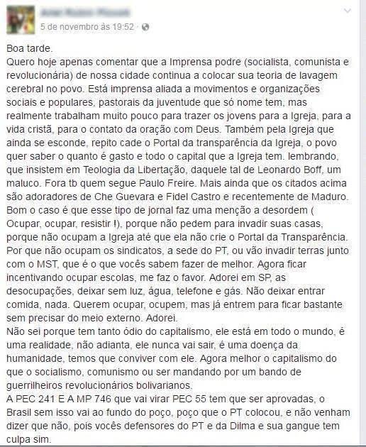 Nota do Portal Desacato contra comentários agressivos em São Miguel do Oeste/SC