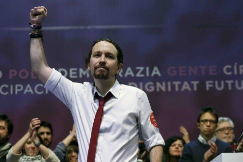 Pablo Iglesias no final do segundo congresso do Podemos. Foto de Chema Moya/EPA/Lusa
