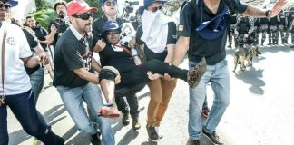 Policial Civil do RS é ferida durante manifestação em Brasília   Foto: Mídia Ninja