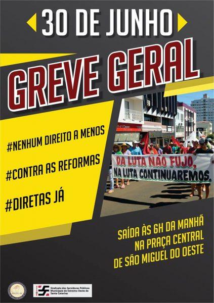Sinte convoca para greve em Chapecó no dia 30