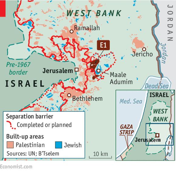 Em destaque, a área em disputa que, caso judaizada, interrompe todo o fluxo entreas cidades palestinas de Ramallah e Belém, dificultando ainda mais a já complicadavida da população ocupada