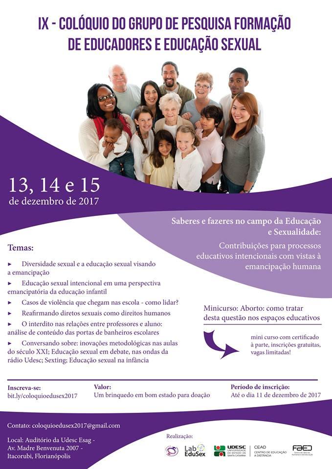 Udesc abre inscrições para colóquio sobre formação de educadores e educação sexual