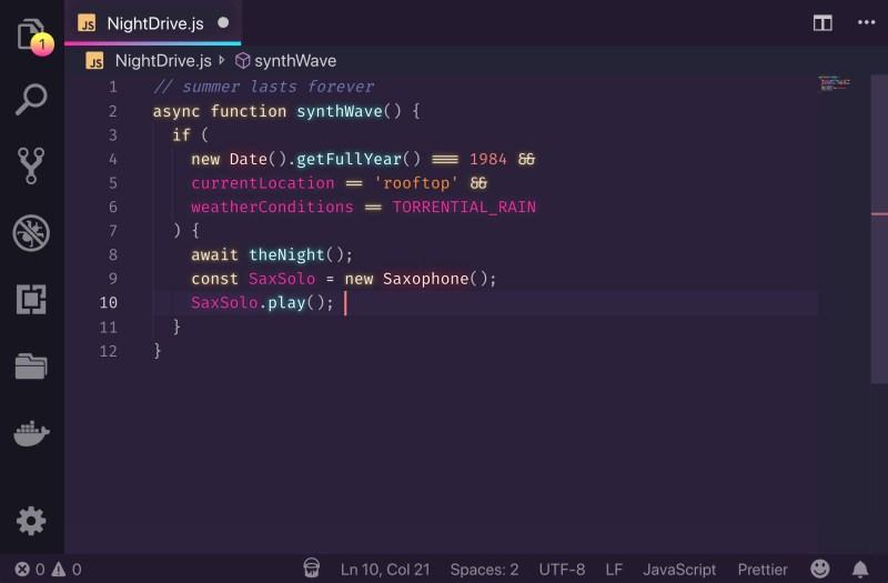SynthWave '84 8 Tema Terbaik Visual Studio Code