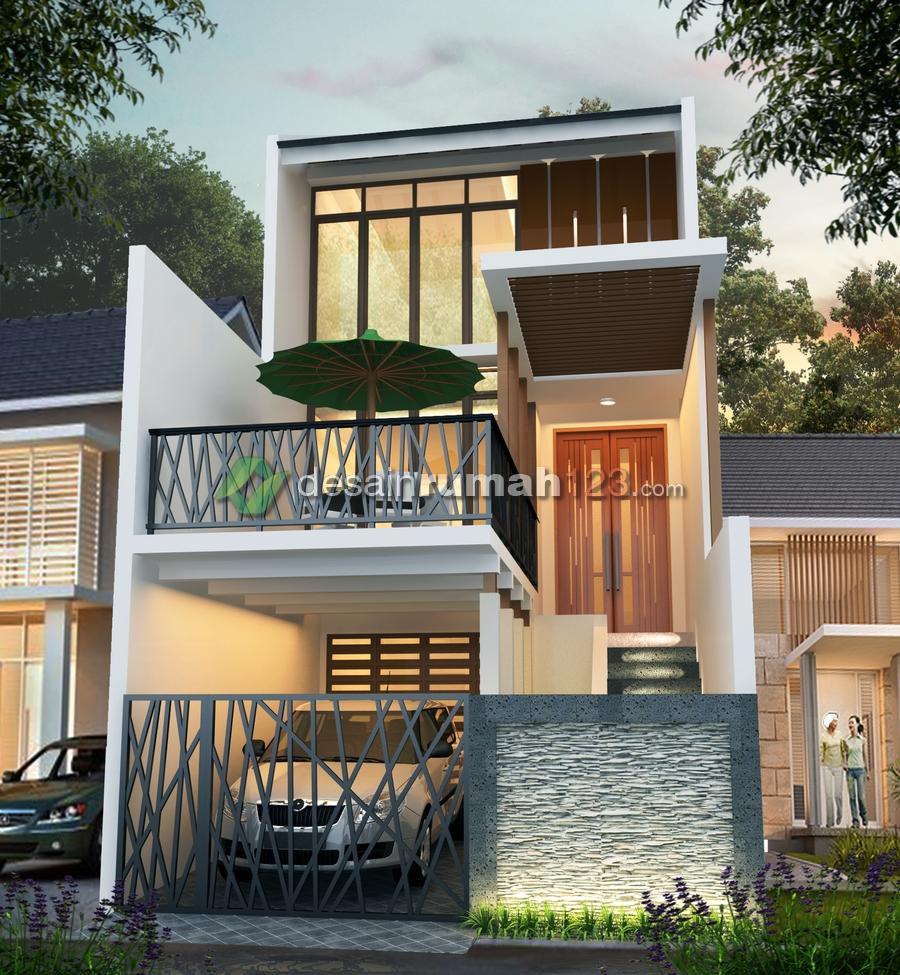Desain Rumah 5 x 20 Minimalis Tropis 3 Lantai  Desain