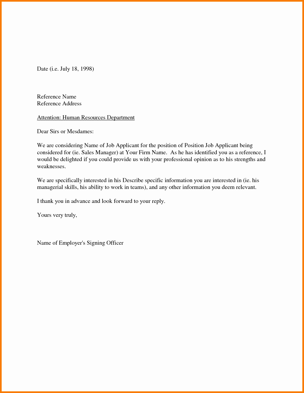 40 Letters Of Recommendation Template