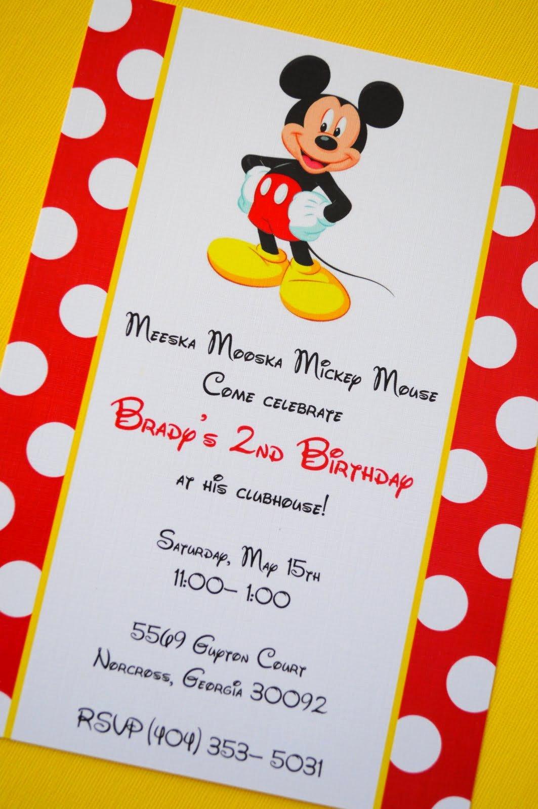 40 Mickey Mouse Birthday Invites